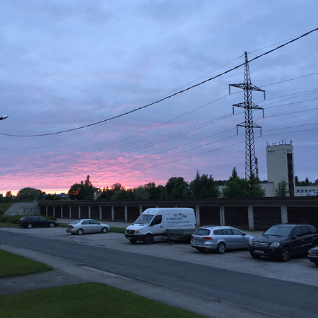 The sunset in Tallinn suburban neighborhoods
